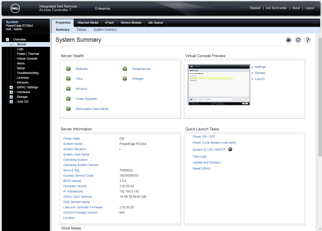Screen capture of the system summary