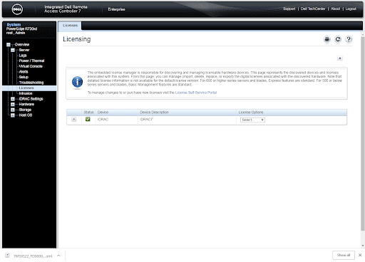 Screen capture of the licensing option
